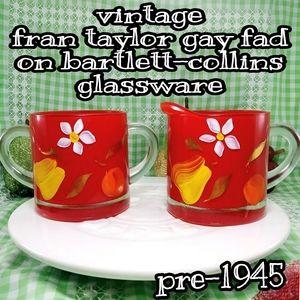 bartlett-collins gay fad red glass cream/ sugar